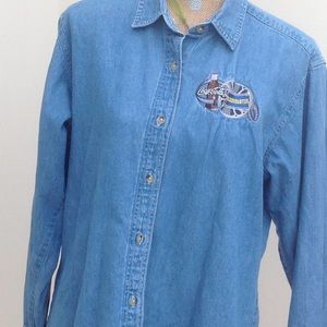 "Tops - ""Blockbuster"" and Coca Cola Denim Shirt"